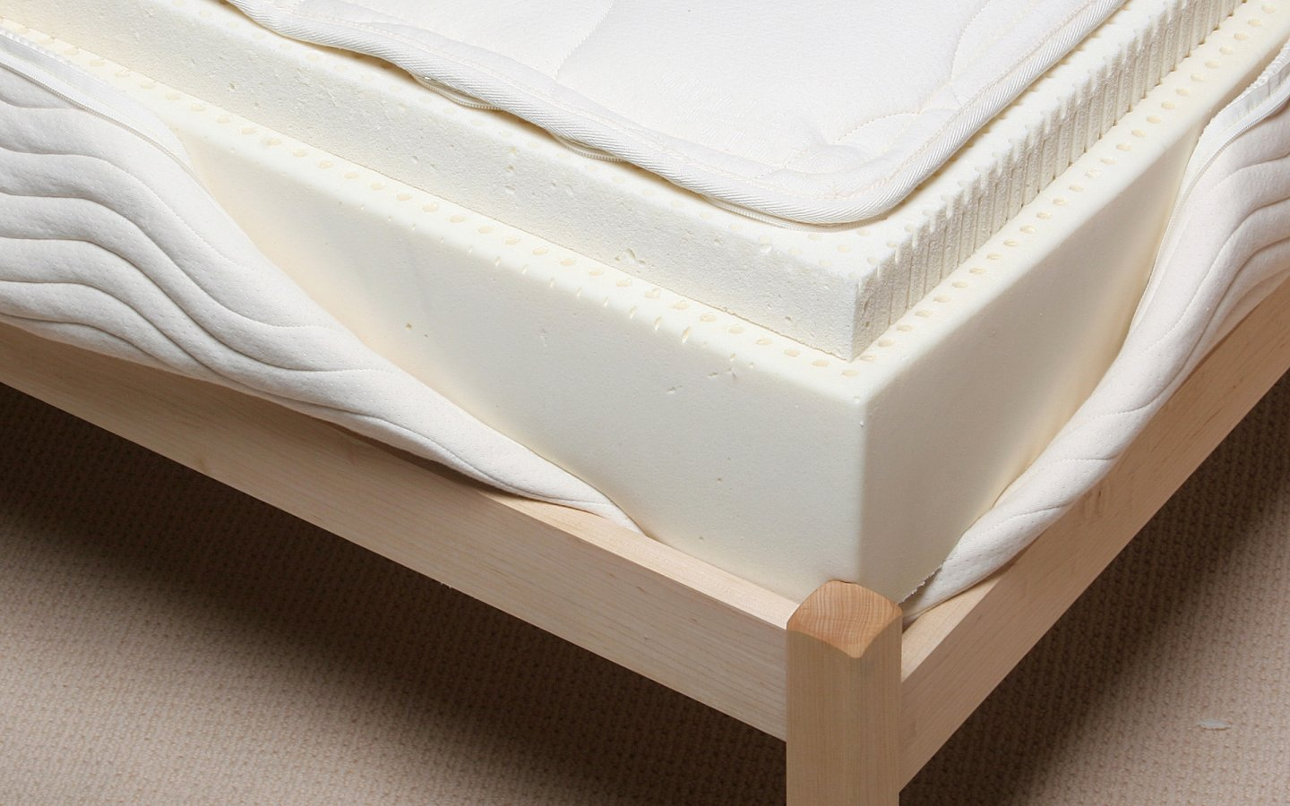 Detailed view of 8 inch latex mattress showing 2 layers of natural Talalay latex.